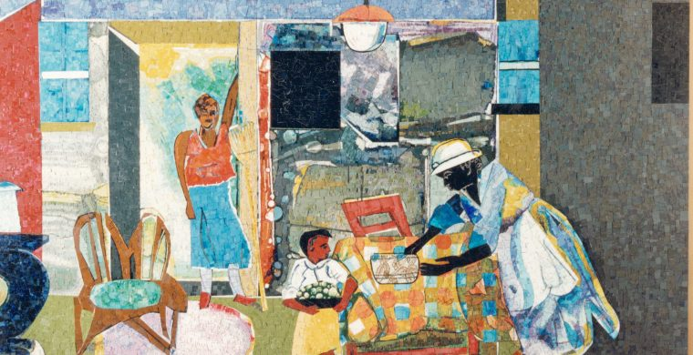 MECKLENBURG MAINBRANCH LIBRARY, CHARLOTTE NC, ARTIST ROMARE BEARDEN, WITH CROVATTO MOSAICS