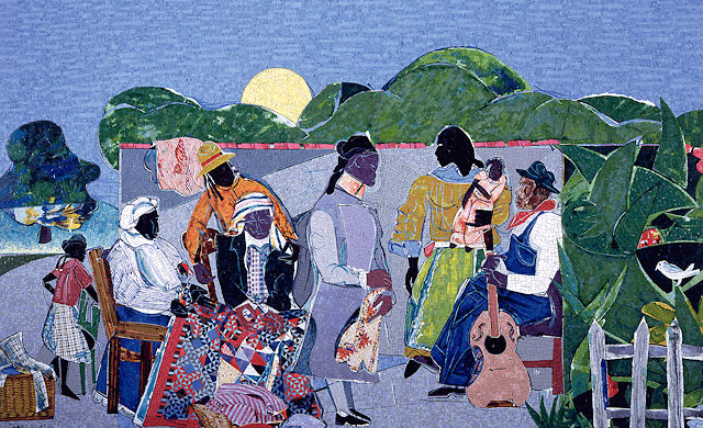 DETROIT INSTITUTE OF ART, ARTIST ROMARE BEARDEN, WITH CROVATTO MOSAICS
