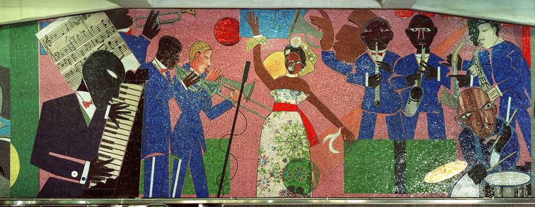 MTA MARYLAND, BALTIMORE, ARTIST ROMARE BEARDEN, WITH CROVATTO MOSAICS