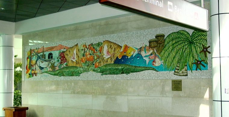 ORLANDO, FL, INT. AIRPORT,  ARTIST PAUL GOODNIGHT, WITH MIOTTO MOSAIC ART STUDIOS INC.