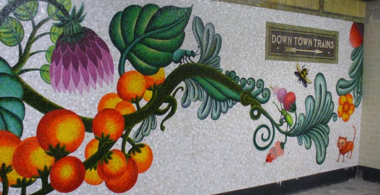 MTA, NYC SUBWAY, ARTIST ANDREA DEZSO, WITH MIOTTO MOSAIC ART STUDIOS INC.