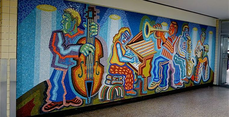 NEW JERSEY TRANSIT, PENN STATION NYC, ARTIST MELVIN CLARCK, WITH MIOTTO MOSAIC ART STUDIOS INC.