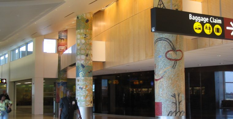 SEATTLE INT. AIRPORT, COLUMNS, WITH MIOTTO MOSAIC ART STUDIOS INC.