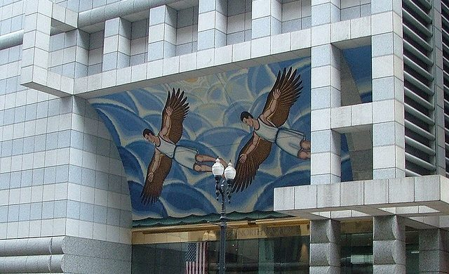 DETROIT BUILDING, ARTIST ROGER BROWN, WITH CROVATTO MOSAICS